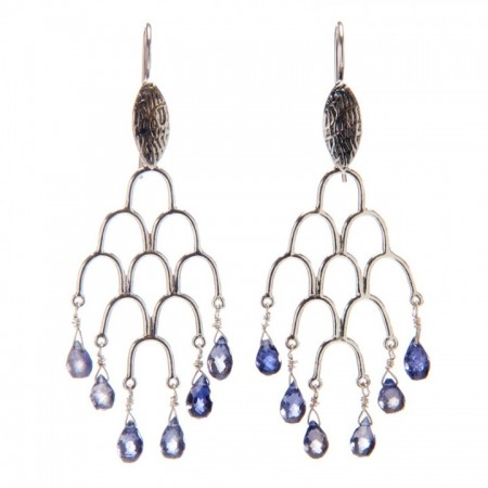 Hanging View Iolite Sterling Silver Chandelier Earrings by La Isla Jewelry