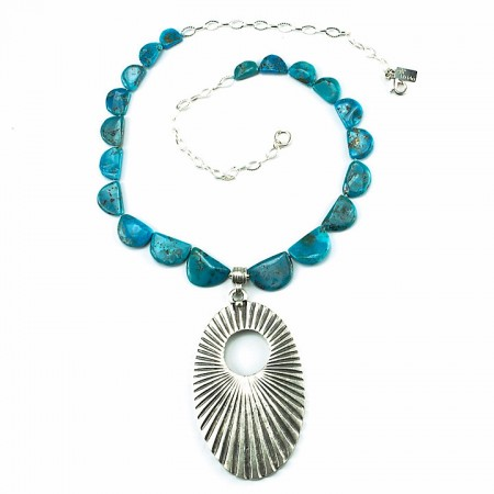 Scalloped Turquoise with Pendant Necklace by La Isla Jewelry