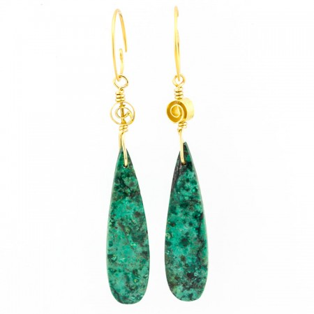 Hanging View Sonora Sunrise Turquoise Gold Earrings by La Isla Jewelry