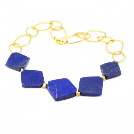 Blue Lapis Chain Statement Necklace by La Isla Jewelry