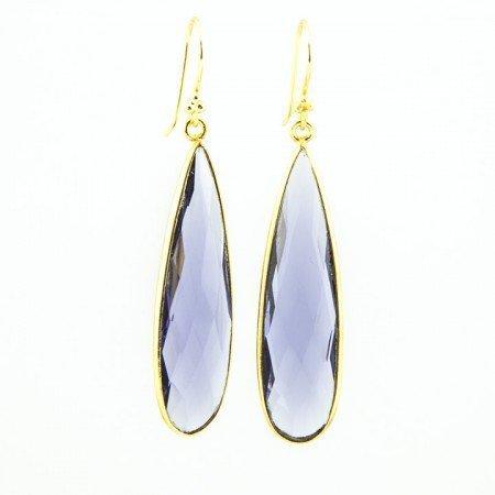 Amethyst Gold Bezel Teardrop Earrings by La Isla Jewelry