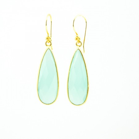 Chalcedony Gold Bezel Teardrop Earrings by La Isla Jewelry