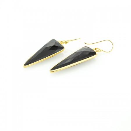 Black Onyx Gold Bezel Dagger Earrings