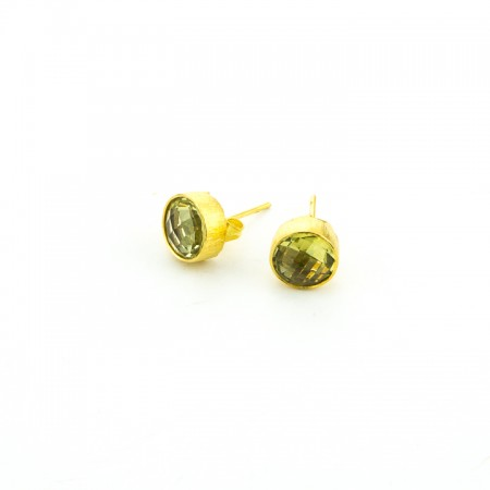 Lemon Quartz Gold Stud Earrings by La Isla Jewelry