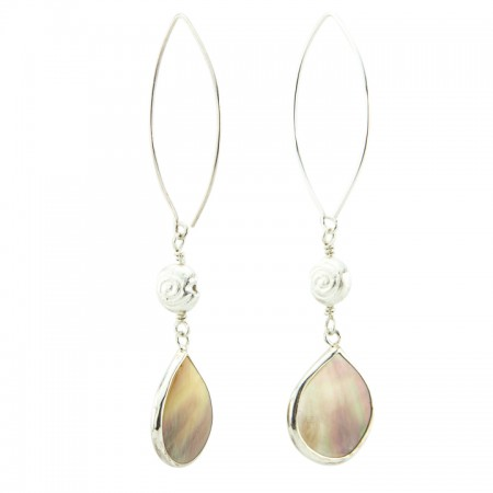 Hanging View Tropical Marquis Sterling Silver Bezeled Mother of Pearl Drop Earrings by La Isla Jewelry