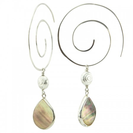 Hanging View Tropical Spiral Sterling Silver Bezeled Mother of Pearl Drop Earrings by La Isla Jewelry