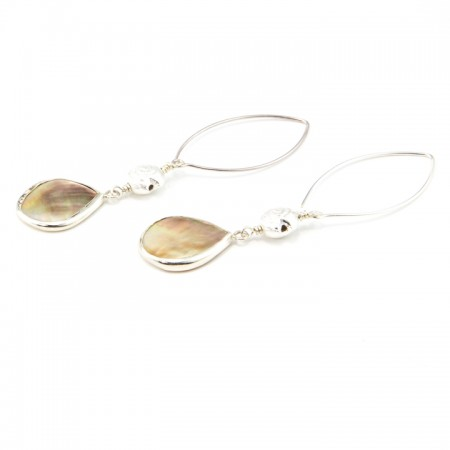 Tropical Marquis Sterling Silver Bezeled Mother of Pearl Drop Earrings by La Isla Jewelry