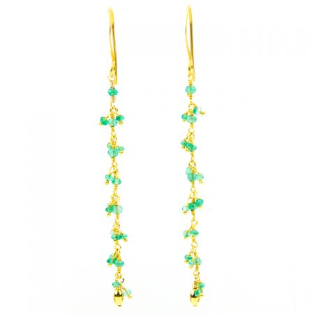 Chrysoprase Gold Chain Earrings by La Isla Jewelry