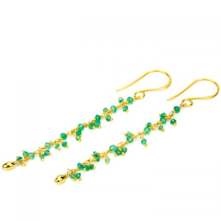 Chrysoprase Gold Chain Dangles by La Isla Jewelry