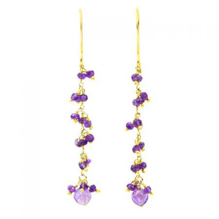 Amethyst Gold Dangle Chain Earrings by La Isla Jewelry