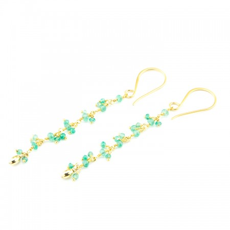Chrysoprase Gemstone Gold Chain Earrings