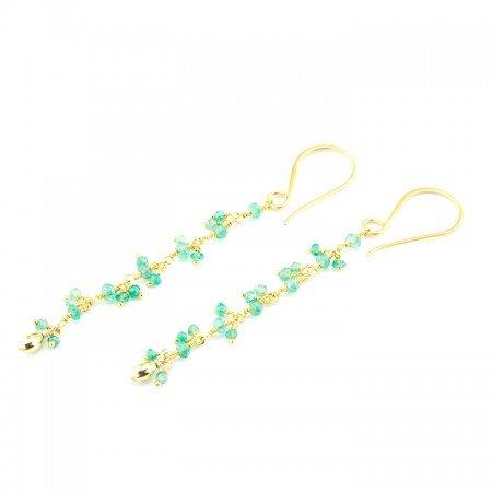 Chrysoprase Gemstone Gold Chain Earrings