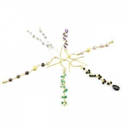 Gemstone Gold Chain Earrings