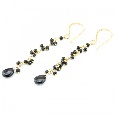 Hypersthene and Black Spinel Gemstone Gold Chain Earrings