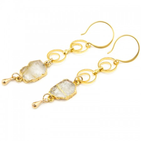 Rutilated Quartz Slice Gold Chain Earrings by La Isla Jewelry