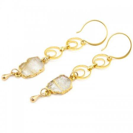 Rutilated Quartz Slice Gold Chain Earrings by La Isla Jewelry