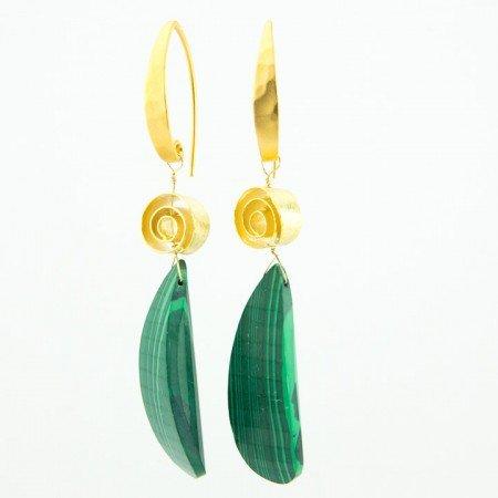 Gold Malachite Statement Drop Earrings by La Isla Jewelry