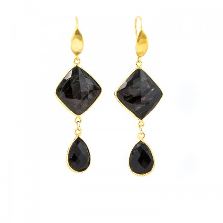 Hanging View Hypersthene and Spinel Drop Gold Earrings by La Isla Jewelry