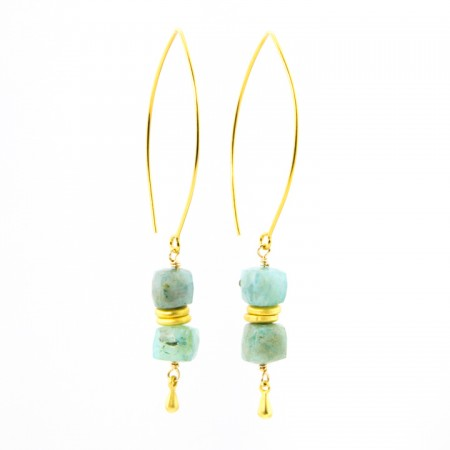 Hanging View Peruvian Opal Dangle Earrings by La Isla Jewelry