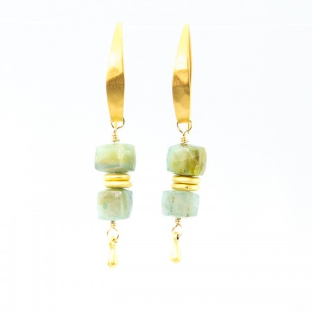 Hanging View Peruvian Opal Gold Earrings by La Isla Jewelry