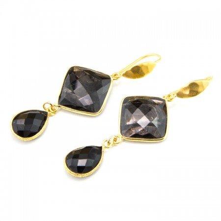 Hypersthene and Spinel Drop Gold Earrings by La Isla Jewelry