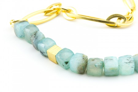 Long Peruvian Opal Gold Chain Necklace by La Isla Jewelry