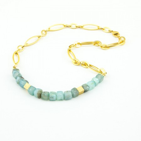 Peruvian Opal Cube Necklace On Gold Chain by La Isla Jewelry