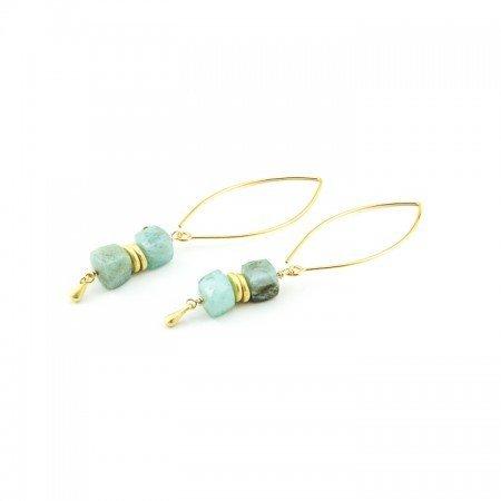 Peruvian Opal Long Dangle Earrings by La Isla Jewelry