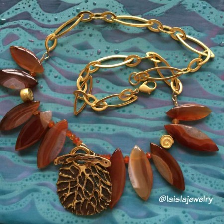 Alt View Marquis Carnelian with Brass Coral Patterned Pendant and Gold Chain by La Isla Jewelry