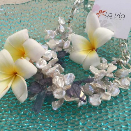 Alt View of Keshi Pearl Iolite Necklace by La Isla Jewelry