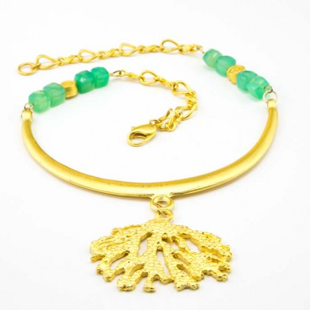 Gold Coral Chrysoprase Necklace by La Isla Jewelry