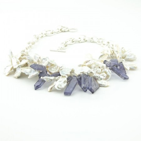 Keshi Pearl Iolite Necklace by La Isla Jewelry