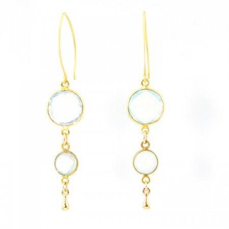 Opalite and Chalcedony Gold Earrings by La Isla Jewelry