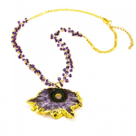 863203N Gold-Edged Amethyst Stalactite Pendant on Clustered Amethyst Chain by La Isla Jewelry