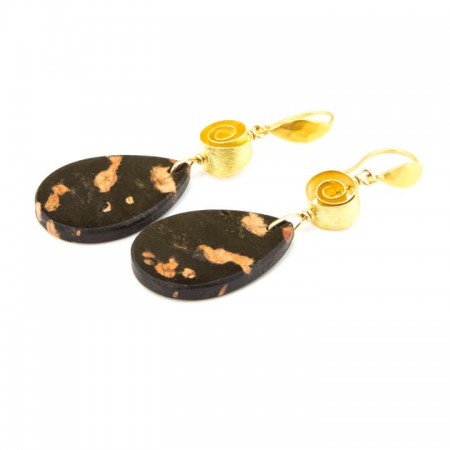 651202E Cherry Blossom Jasper Slab Earrings by La Isla Jewelry