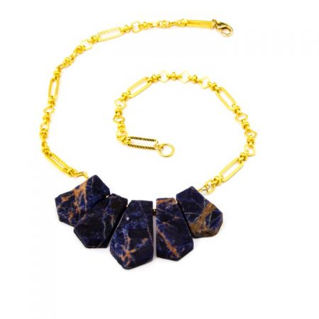 853272N Orange Sodalite Fan Necklace on Gold Chain by La Isla Jewelry