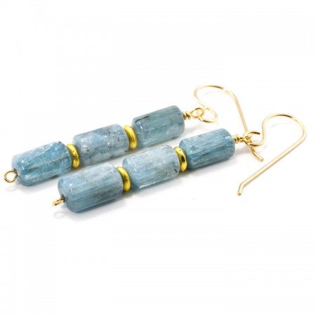 862202E Blue Kyanite Gold Earrings by La Isla Jewelry