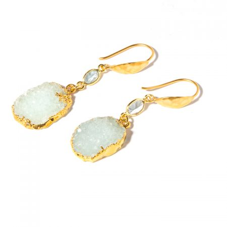 872230E Chalcedony Druzy Earrings by La Isla Jewelry