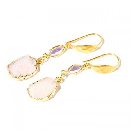 872231E Rose Druzy Earrings with Amethyst by La Isla Jewelry