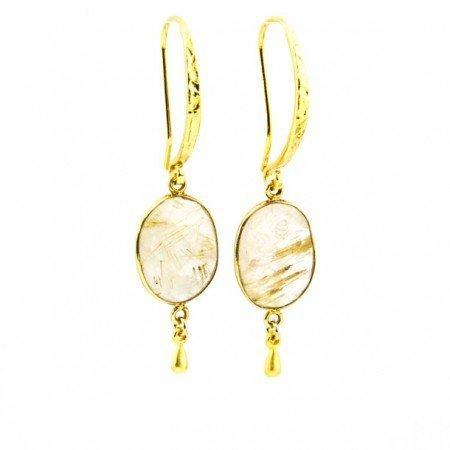 961203E Golden Rutilated Quartz Drop Earrings by La Isla Jewelry