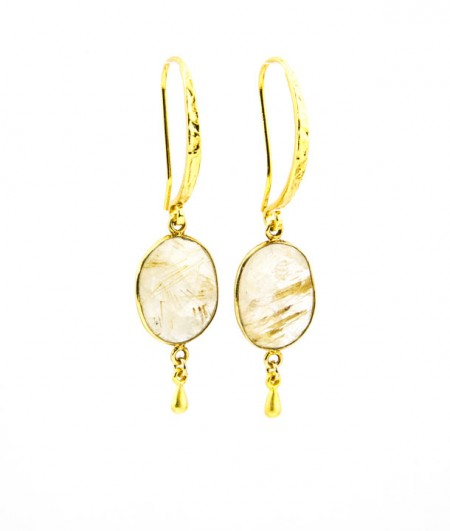 961203E Golden Rutilated Quartz Drop Earrings by La Isla Jewelry