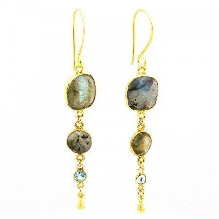 962202E Labradorite Shimmer Earrings by La Isla Jewelry