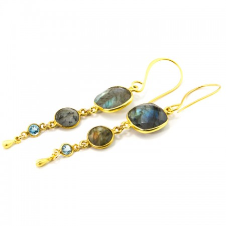 962202E Multi TIer Labradorite Earrings by La Isla Jewelry