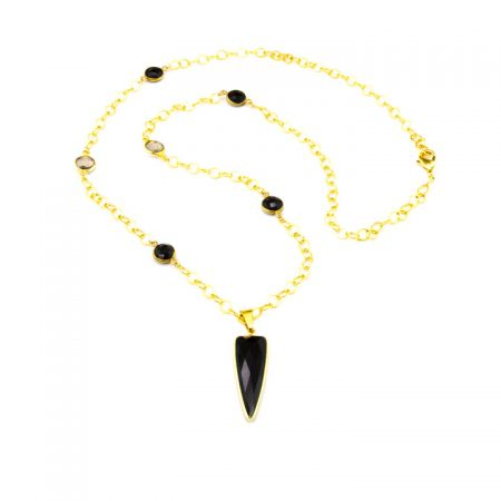 853275N Black Onyx Dagger Pendant on Station Chain by La Isla Jewelry