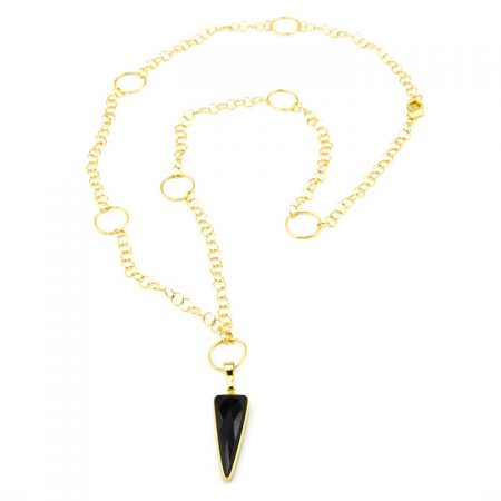 853276N Black Onyx Dagger Pendant on Designer Gold Fill Chain by La Isla Jewelry