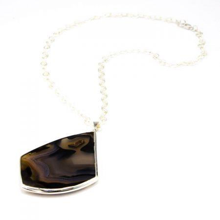 863102N Silver Bezeled Agate Slice Pendant Necklace by La Isla Jewelry