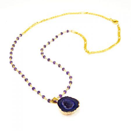 8631208N Purple Druzy Geode Chain by La Isla Jewelry