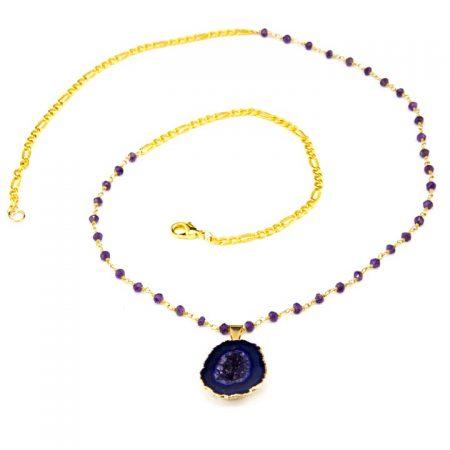 8631208N Purple Geode Pendant and Gemstone Chain by La Isla Jewelry