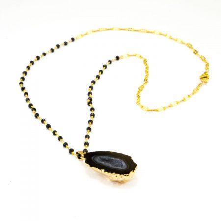 8631209N Black Druzy Geode Pendant Chain by La Isla Jewelry