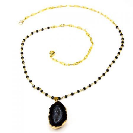 8631209N Black Geode Pendant and Gemstone Chain by La Isla Jewelry